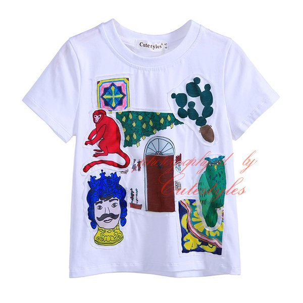 2016 새로운 패션 Cutestyles 만화 캐릭터 소년을위한 100 % 코튼 T 셔츠 반팔 귀여운 패턴 Applique 베이비 키즈 탑스 BT90312-3L