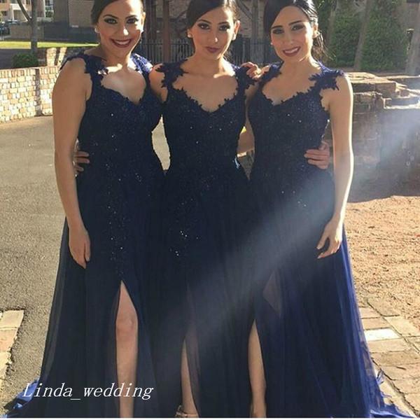 Темно-синее длинное платье подружки невесты с длинными рукавами Элегантное шифоновое кружевное платье с разрезом по бокам для женщин Формальное платье фрейлины для свадебного платья