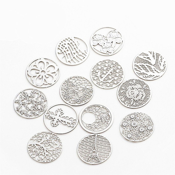 Free Shipping Mixed design 22mm round window plates charms floating plates for 30mm glass living memory locket pendant