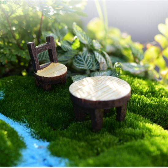 New cute Mini Table chair 1set=2pcs Fairy Garden Miniatures Crafts Terrarium Gnomes Statue Dollhouse For Diy Home Decoration Accessories