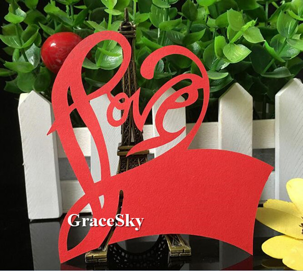 60pcs/lot Free Shipping Laser Cutting Love Heart Shape Paper Wine Glass Place Seat Name Card for Paper Wedding Party Grass Decoration