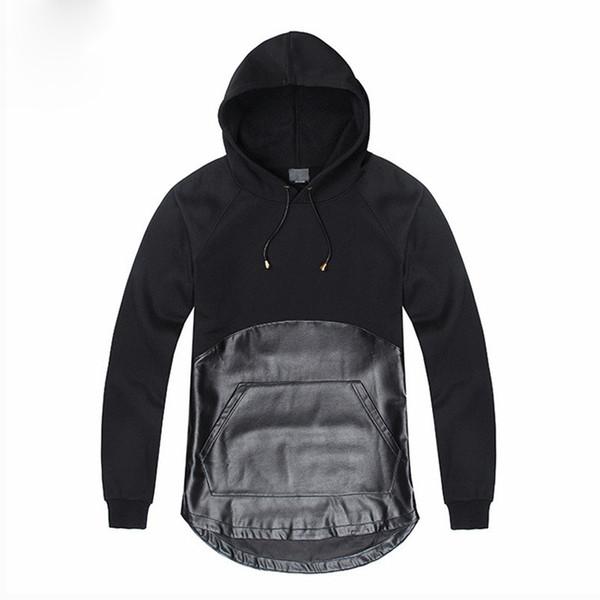 Novedad Negro Assassins Creed Ropa Patchwork Diseño PU Leather Men Hoodies Punk Rock Pullover Personalidad Tops