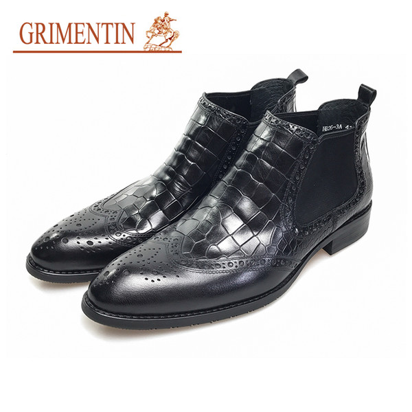 GRIMENTIN brand black crocodile boots for men genuine leather pointed toe italian business wedding ankle boots