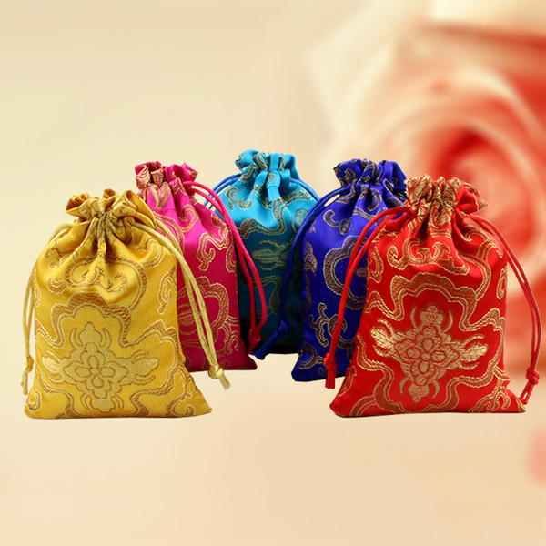 Cheap thin Rich Flower Small Gift Bag Drawstring Silk Brocade Jewelry Storage Pouch Candy Tea Bags Spice Sachet Cloth Packaging