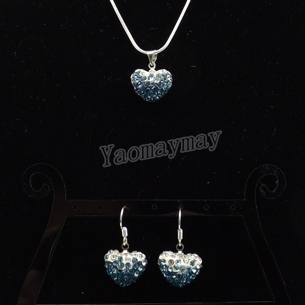 New Arrive Heart Shape Rhinestone Jewelry Set Gradient Peacock Earrings And Necklace For Women 5 Sets Wholesale Free Shipping