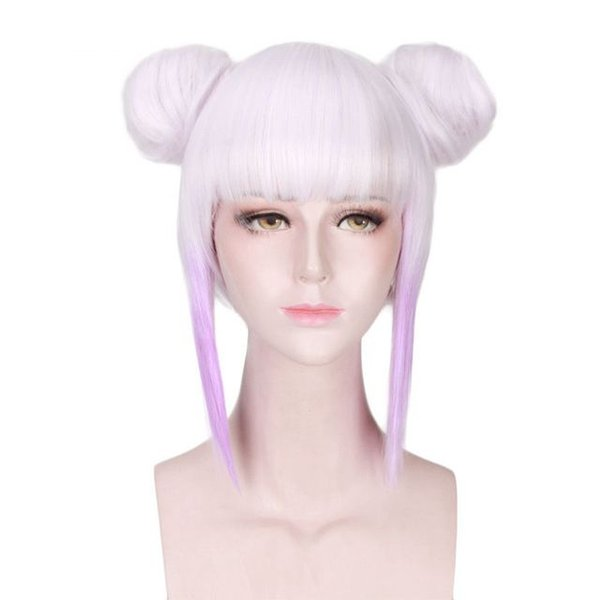 Frauen Purple White Ombre Mix Short Straight Flat Bangs Kunsthaar Cosplay Volle Perücken Peluca mit Brötchen