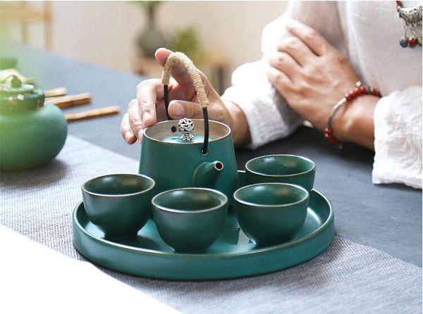 Großhandel Trinkgefäße Kaffee Tee Sets Keramik Teekanne Teetasse Weinlese Muster Chinese Kung Fu Set Tee Tragbarer Reise Set Mit Geschenk Box Für