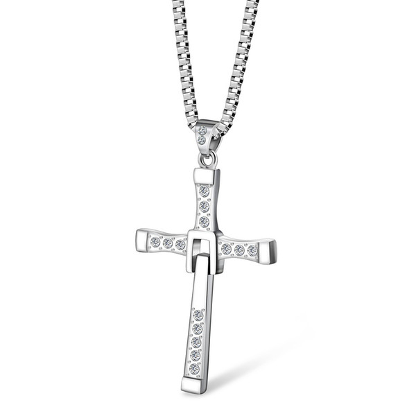 MCW Religion Style the Fast & the Furious Cross Men's Pendant Necklace Punk Dominic Toretto Cross Titanium Steel Necklaces