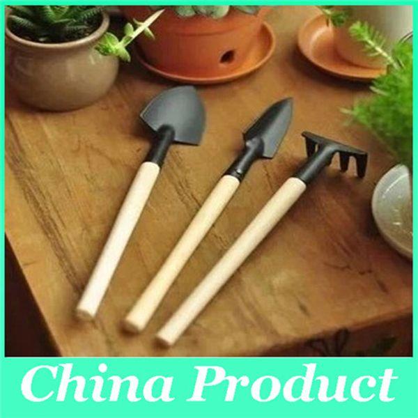 1 Set=3 pcs Mini Garden Tools Small Shovel Rake Spade Wood Handle Metal Head Kids Tool