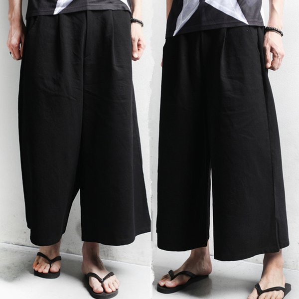 Atacado-homens novos casuais calças soltas homens rua saias calças homens show de palco do punk calças perna larga pant Plus Size 27-36, K935