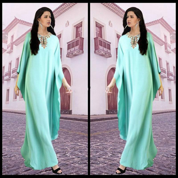 Arabic Kaftan Indian Evening Dresses Chiffon Formal Party Gowns Arabian Abaya Beaded Elegant Prom Dress Robe