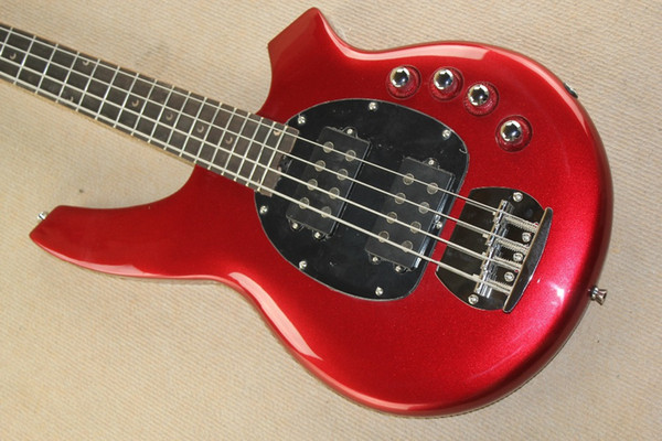 best selling In Stock, Bongo 4 Strings Bass StingRay Metallic Red Electric Bass Guitar, 9V Battery & Active Wires, Black Pickguard Drop Shipping