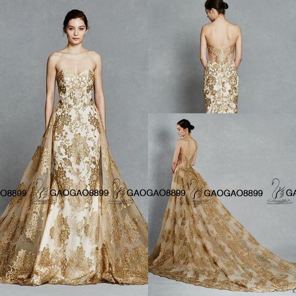 Kelly Faetanini color oro bordado tren Desmontable Royal Wedding Dresses 2016 Sparkly Sweetheart Backless vestido de novia de dos piezas