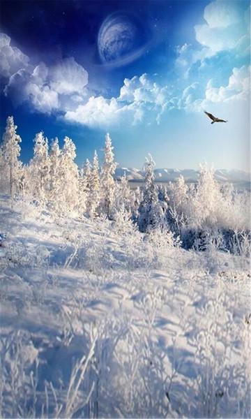 Acquista Fantasia Blu Cielo Neve Montagna Fotografia Sfondo Bianco