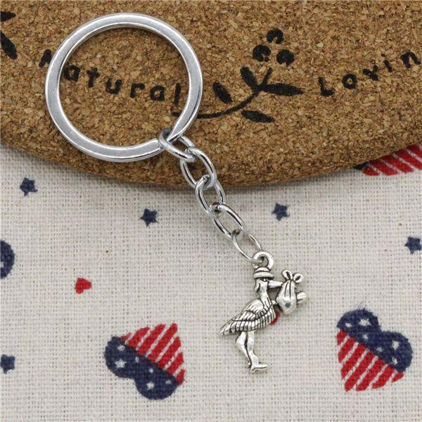 Men Jewelry Key Chain, Fashion Diameter 30mm Key Ring Metal Key Chain Accessory,Vintage Silver stork baby bird 23*18mm Pendant
