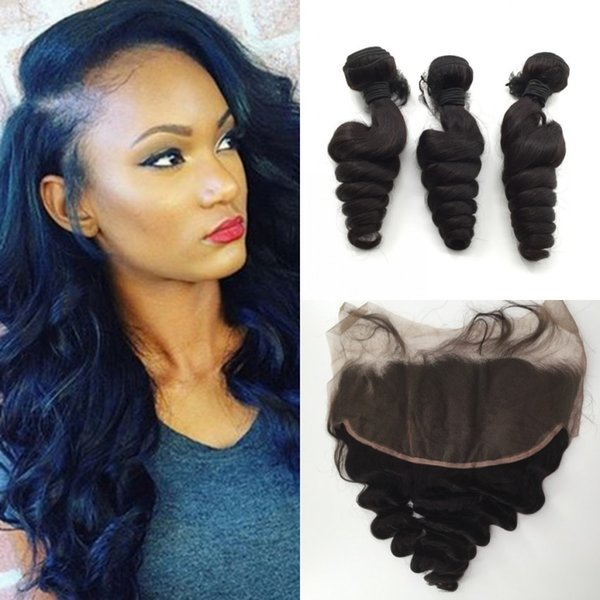 Wholesale 13*6 lace Frontal Closures With 3 Bundles Brazilian Peruvian Indian Mongolian hair weaves closures free style Frontal closures