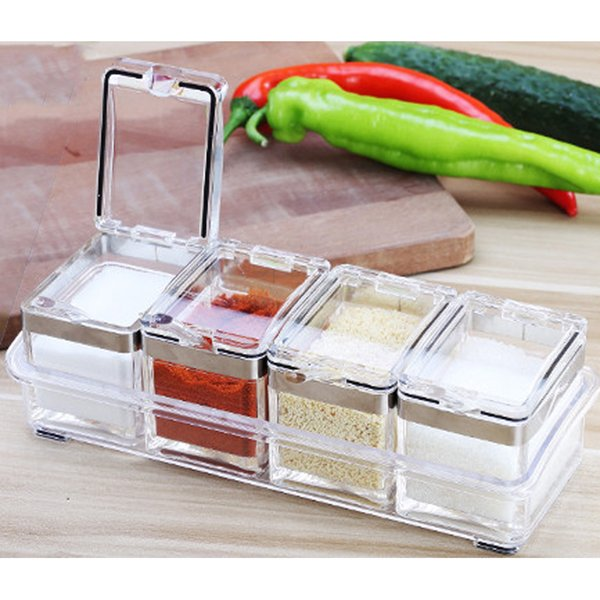 Wholesale- Strong Design Silver Edge European Flavor Seasoning Jar Storage Set Box Kitchen Condiment Scrylic Spice Box Seasoning 4 Pc/Set