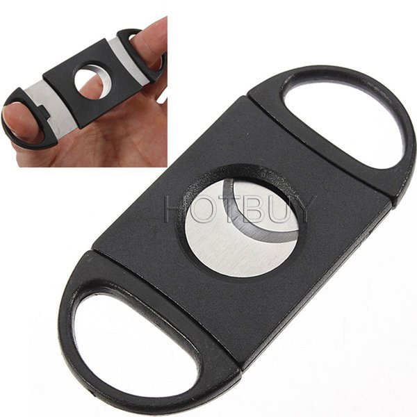 best selling Pocket Plastic Stainless Steel Double Blades Cigar Cutter Knife Scissors Tobacco Black New #2780