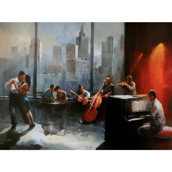 Hand painted oil painting cityscapes Musicroom with view on skyline Willem Haenraets modern art picture for Home decor