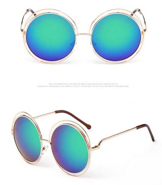 5pcs woman round color film sunglasses Metal sun glasses hollow out goggle man outdoor fashion Dazzle colour adumbral 12colors drop ship