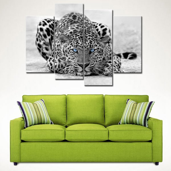 4 Pieces Black & White Wall Art Painting Blue Eyed Leopard Prints On Canvas The Picture With Wooden Frame For Home Decoration Ready to Hang