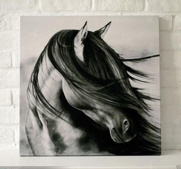 Framed black white horse,Pure Hand Painted contemporary WALL DECOR Art Oil Painting On High Quality Canvas.Multi sizes Available moore2012