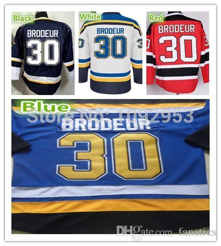2016 Best St.Louis Ice Hockey #30 Martin Brodeur Jerseys Team Color Blue White Red 100% Polyester Brodeur Hockey Shirts Cheap