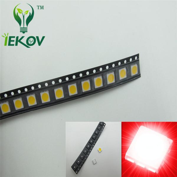 La haute qualité 5000pcs PLCC-6 5050 SMD a mené la diode lumineuse lumineuse superbe 620-630nm pour le vélo DIY SMD / SMT puce perle de lampe