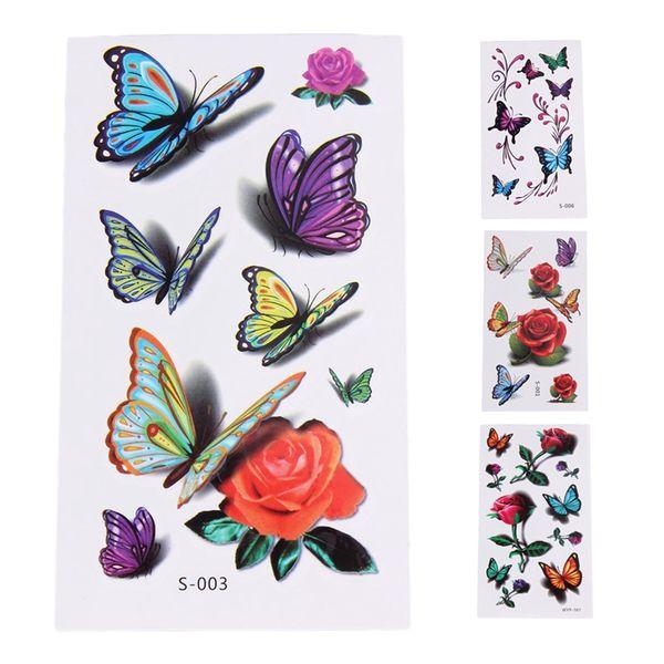 Desenhos Para Tatuagens 10 Folhas Set Adesivos De Tatuagem Temporária à Prova D água Flor Colorida Com Borboleta Diy Body Art Decoração Tatuagens