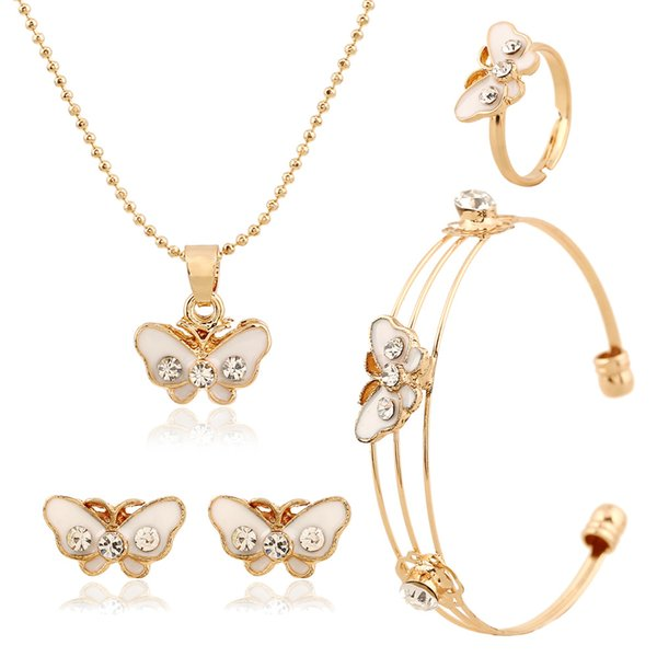 New Arrival Fashion Butterfly Diamond Kids Jewelry Set Include