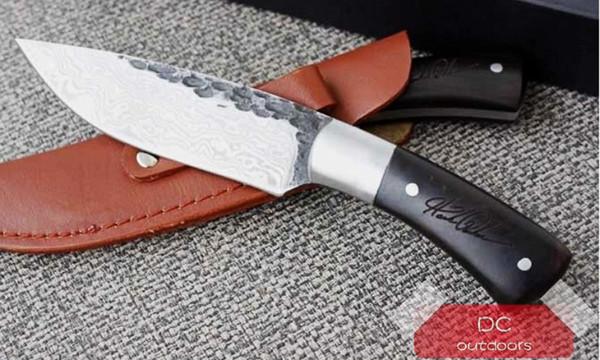 Nuevo Cuchillo de acampar de hoja fija de damasco forjado hecho a mano Cuchilla de acero de alto carbono Mango de madera Cuchillo de caza con funda de cuero