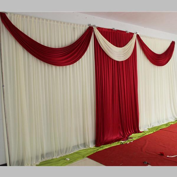 New Elegant Ice Silk Milk White and Red Wedding Backdrops Curtain with Swag 20ft (w) x 10ft (h) for Wedding Decoration