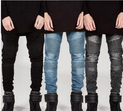 Men Pencil Pants BIKER JEANS Draped Stylish Slim Fit Jeans High Street Clothes for Men Spring Autumn Denim Trousers Pleated Designer Clothin