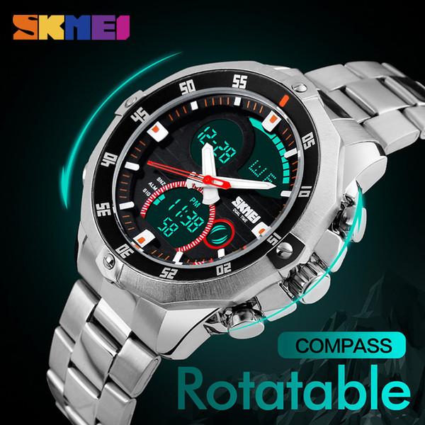 2017 hot buy SKMEI compass men's sports watch world time summer time watch countdown chronograph waterproof digital watch