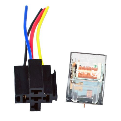 2019 Car Relay 12V 80A SPST Relay 4 Pin + Socket 4 Prong Wire Transparent  Pin Auto Relay Wiring on