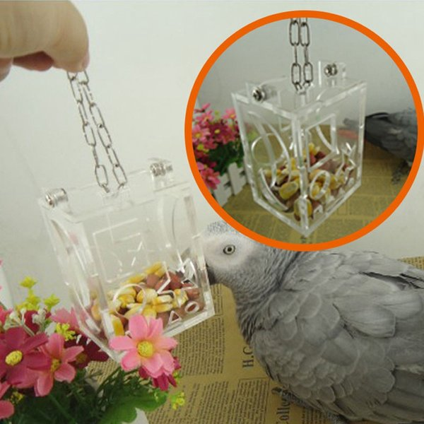 Mayitr Parrot Hang Foraging Toy Bird Foraging Feeder Acrylic Hanging Cage for Treat Intelligence Develop High Quality