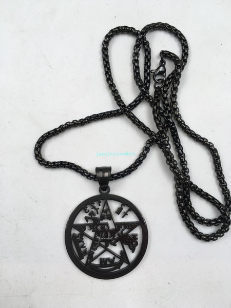 """Cool Black 316L Stainless Steel Sanskrit scriptures Pentacle in circle Pendant Necklace w/24"""" Box Rolo Chain"""
