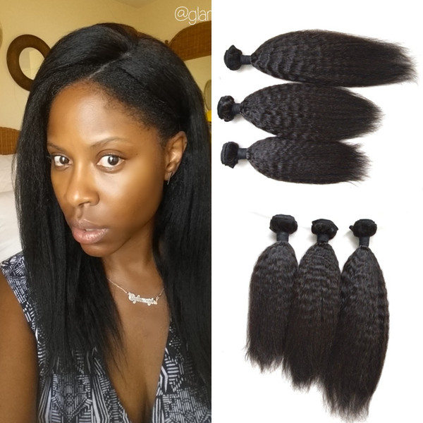 Cheap Brazilian hair Kinky Straight Human hair extensions 3pcs/lot 100g/3.5oz/bundles natural black weaves 8-30inch LaurieJ Hair
