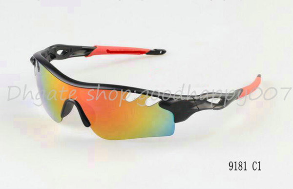 Free Shipping Men's Sport Sunglasses Black Frame/ Rainbow Lens Sunglass Fashionable Outdoor Sun Glasses Mix color order.