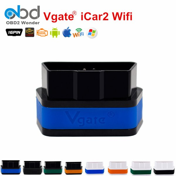 Wholesale- 8 Colors Vgate WiFi iCar2 ELM327 OBDII Code Reader Vgate iCar 2 Wifi ELM327 Diagnostic Interface For IOS iPhone iPad Android
