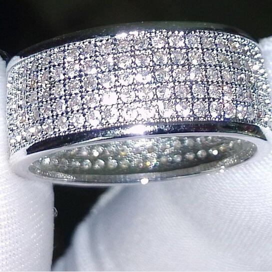 Commercio all'ingrosso - 250pcs gioielli Diamatique diamante simulato bianco pieno topazio 10KT White Gold Filled donne Wedding band Ring regalo Sz 5-11