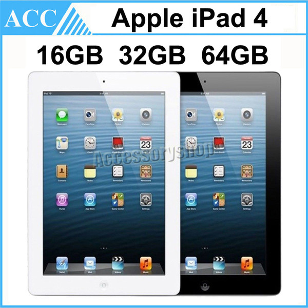 best selling Refurbished Original Apple iPad 4 WIFI Version 16GB 32GB 64GB 9.7 inch Retina Display IOS Dual Core A6X Chipset Tablet PC DHL 1pcs