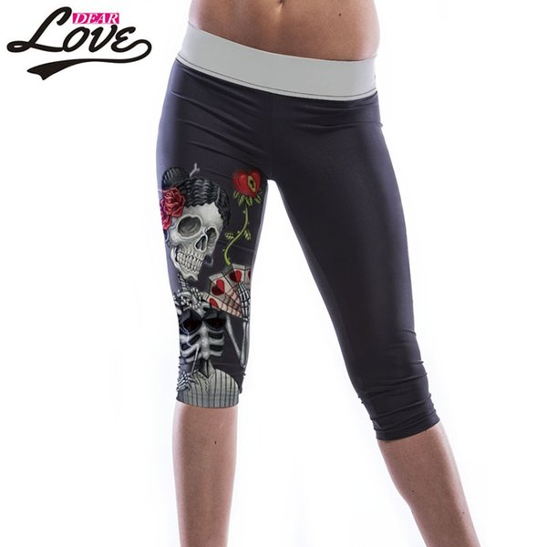 Wholesale- Dearlove Skull Girl Print Knee Length Leggings LC79751 2017 Hot Leggings Fashion Casual Women Sexy swear Gyms women's Leggings