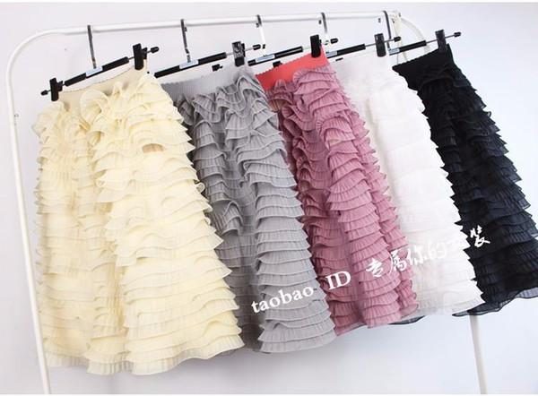 New fashion women's high waist ruffle cake layered pleated gauze knee length umbrella ball gown tiered skirt club hot skirt
