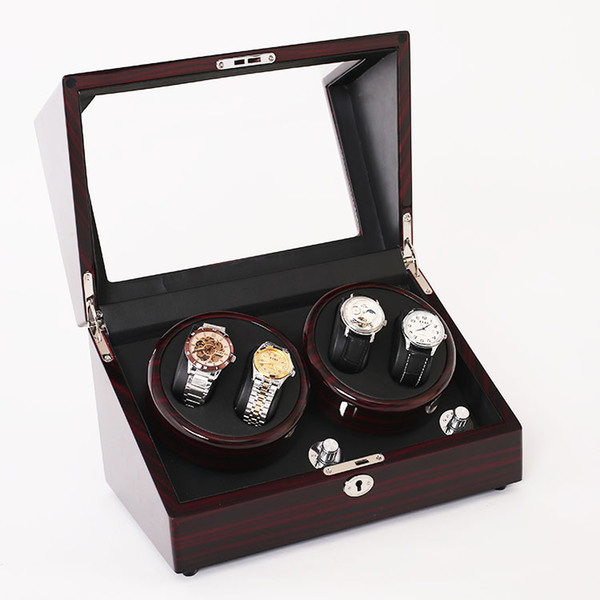 best selling Mahogany Wood leather watch accessories box for automatic watch winder case lock rotator storage movement ratator boxes winders Global Use