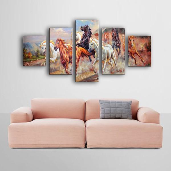 Spirit Up Art Grandi cavalli da corsa Immagine Dipinto su tela Stampa senza cornice Modern Home Decorazioni Wall Art Animal Horse Painting