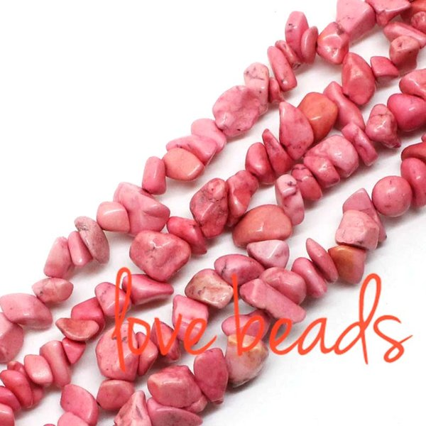 5-8mm Irregular Gravel Pink Natural Turquoise Chips Loose Beads Freeform Strand 80CM For wholesale (F00363) wholesale
