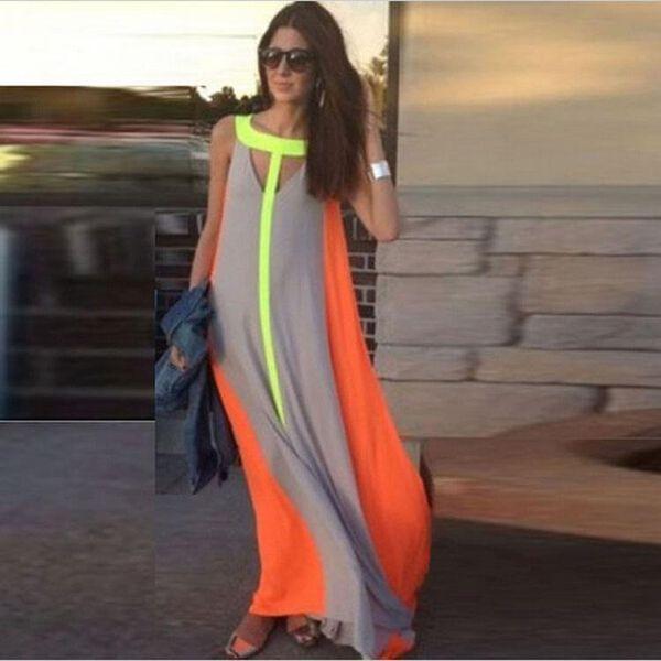 2016 robes décontractées d'été brillant couleur patchwork sans manches robe d'été grande jupe lâche longue robe pas cher femmes maxi robes