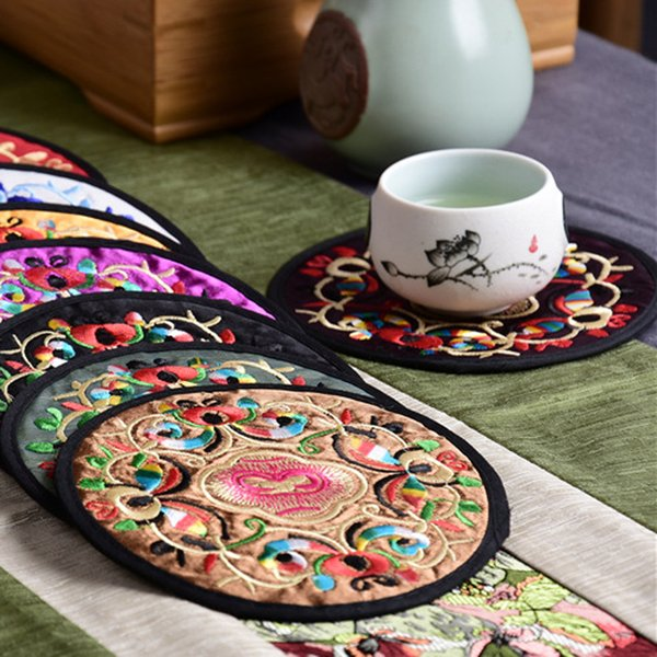 Fashion Non-woven Chinese Style Embroidery Floral Pattern Ethnic Coaster Tribal Cup Teapot Mat Drink Holder Floral Tableware Placemat