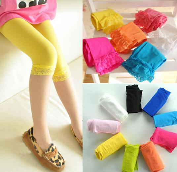 best selling kids baby girls velvet candy color leggings summer girls lace leggings children Cropped Pants free fedex dhl shipping in stock